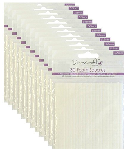Dovecraft–Set di quadratini in schiuma 3D, 12 confezioni, 5x 5mm, biadesivi, per biglietti e decoupage