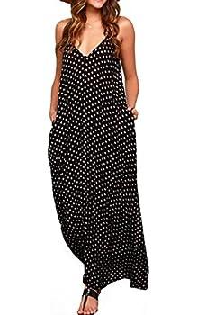 LILBETTER Women V-Neck Polka Dot Print Spaghetti Strap Boho Long Maxi Dresses  Black,Small