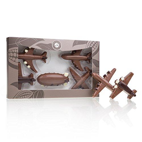 Flugzeuge aus Schokolade - 4 Flugzeuge und 1 Zeppelin aus Vollmilchschokolade | Schoko Flugzeug | lustige Geschenkidee | Geburtstagsgeschenk | Geschenk für Kinder | Erwachsene | Mann | Frau