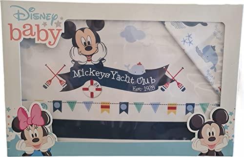 Juego de 3 sábanas para cuna de bebé, 100 % algodón, diseño de Mickey Mouse Yacht Club de Disney