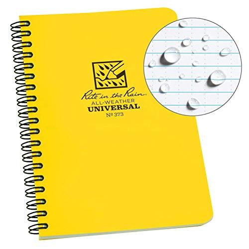 Rite In The Rain Bloc-notes à spirale en papier imperméable avec couverture polydura jaune 64 pages 12 feuilles règles impériales et métriques 4 12,7 x 17,8 cm