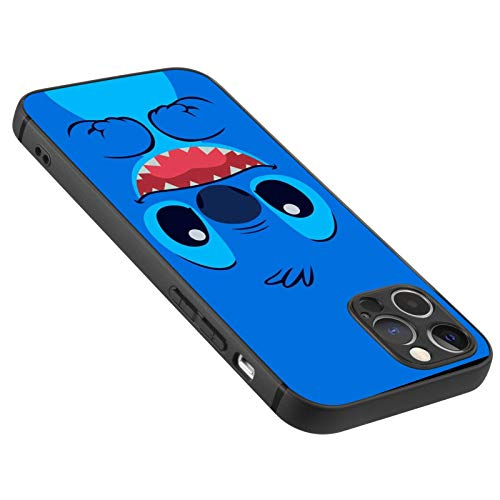 DISNEY COLLECTION Carcasa mate ultrafina para iPhone 12 Pro, a prueba de golpes, con Lilo Stitch 6, color negro