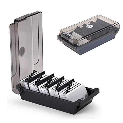 SUNSHINETEK Visitenkartenhalter Box 500 Cards Desk Visitenkarten-Box-Organizer-Halter mit 4 Teilerplatinen und A-Z-Index-Registerkarten, Schwarz