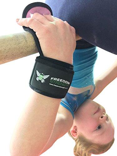 Handflächenschutz für Gymnastikübungen von Freedomstrength®, in Kindergröße, mit gepolstertem Klettband am Handgelenk, blau, S