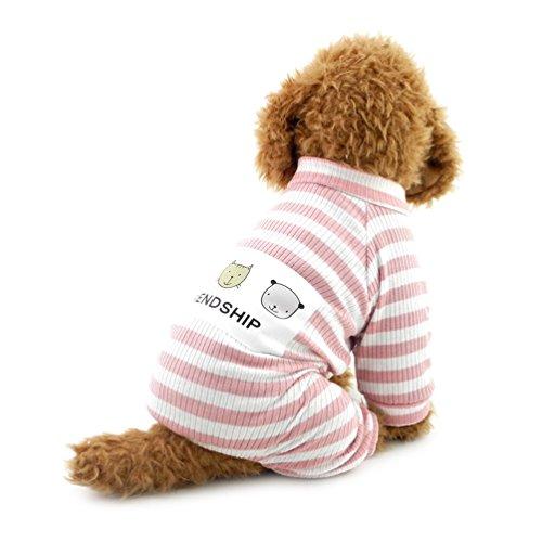 SMALLLEE_LUCKY_STORE Doggie Fashion Uniform für Jungen Welpen Outfits Jumpsuit Streifen T-Shirt Medium Pink