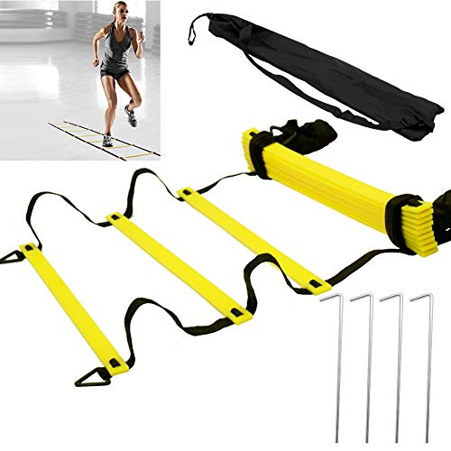 QILU Agility Ladder Speed Training Equipment, Speed Ladder 12 Rung with Carrying Bag for High-Intensity Footwork Football Basketball (Yellow)