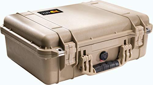 PELI 1500 Maleta rugerizada para equipos electrónicos y audiovisuales, IP67 estanca e impermeable al polvo, 19L de capacidad, fabricada en Alemania, sin espuma, Beige