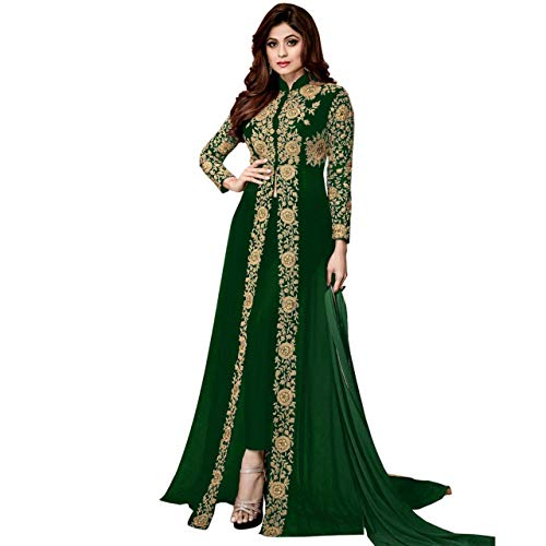 Florely Women's Embroidered Georgette Semi-Stiched Anarkali Gown with Dupatta(Codding) (Green)