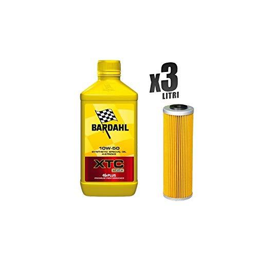 Kit Tagliando moto 3 litri olio Bardahl XTC C60 10W50 + filtro HF650