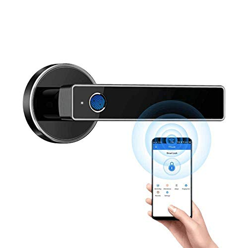 Harfol Smart Door Lock, biométrico Keyless Entry Door Handle WiFi Bluetooth App Security Simplificado Cerradura de puerta de huella digital (negro)