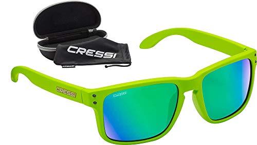 Cressi Blaze Sunglasses Occhiali da Sole con Lenti HTC Polarizzate e Idrorepellenti, Unisex Adulto, Kiwi/Lenti Specchiate Verdi