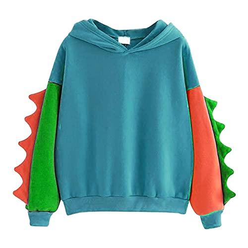 Estilo Japones Dinosaurio Lindo Sudaderas Mujer con Capucha Camiseta Mujer Manga Larga Color Block Blusas para...