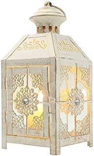 Farol Decorativos de diseño JHY Linterna de Vela de Metal de 23 cm de Altura Farol Colgante de Estilo Vintage para Fiestas de Bodas Interior al Aire Libre (Blanco con Cepillo de Oro)