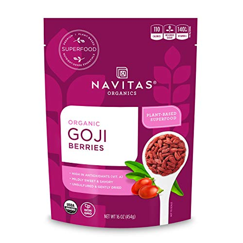 Navitas Organics Goji Berries, 16 oz. Bag, 15 Servings — Organic, Non-GMO, Sun-Dried, Sulfite-Free