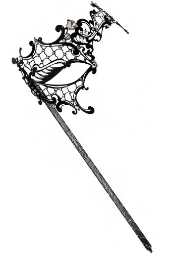 Success Creations Colette Laser-Cut Metal Black Venetian Women's Masquerade Mask on a Stick