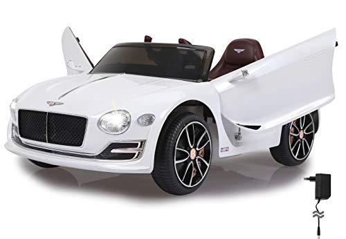 Jamara 460334 Ride-on Bentley EXP12 weiß 12V-2-Gang, leistungsstarker Antriebsmotor und Akku für Lange Fahrzeit, Ultra-Grip Gummiring am Rad, AUX-und USB-Anschluss, LED-Scheinwerfer,Flügeltüren