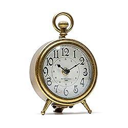 NIKKY HOME Vintage Distressed Gold Table Clock, Decorative Pocket Watch Shape Antique Metal Desk Clock for Living Room Shelf - Chic Home Décor for Desktop, Countertop