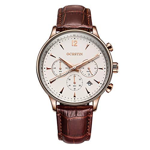 Relojes para Hombres Reloj de Pulsera para Hombres y Mujeres Analógico de Cuarzo Negocios Casual Correas de Reloj de Cuero Impermeables Relojes-D