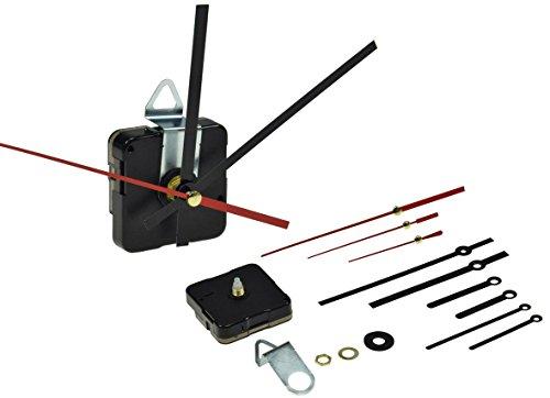 ChiliTec GmbH Quarz Uhrwerk mit Metall Uhrzeiger Ersatz-Uhrwerk mit 3 Zeigersätzen Batterie 1x AA/Mignon Uhrenbau Set Aufhänger