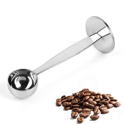 Doble Función Cuchara De Café Cuchara Dosificadora De Café De Acero Inoxidable Cuchara Café De 2 En 1 Medir Con Diseño De Fondo Redondo, Reutilizable Multifuncional Para Hogar Fácil De Limpiar