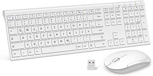 Jelly Comb Kabellose Tastatur und Maus, 2,4G Ultradünne Funktastatur und Maus mit Ziffernblock, Full-Size Wiederaufladbare QWERTZ Tastatur für Computer, Laptop, Notebook, Windows(Weiß)