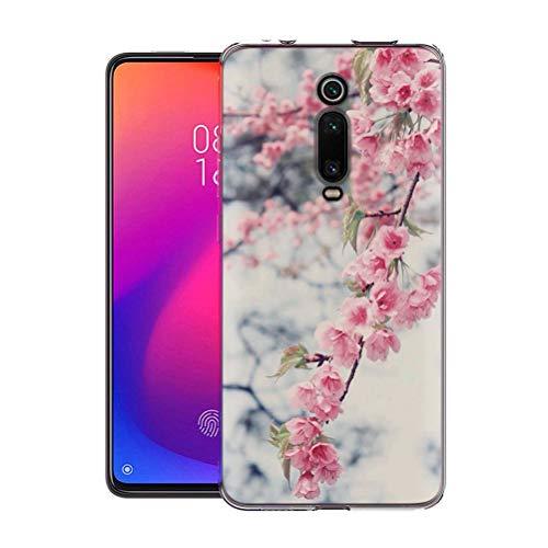 Pnakqil Funda para Xiaomi Mi K20 Pro 9/9T/Pocophone F2 Pro Transparente Silicona Carcasa Ultrafina Suave TPU Piel Antigolpes Protectora Bumper Case Cover Compatible con Teléfono, Flor Rosa de