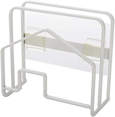 Senbowe まな板&鍋蓋スタンド 壁掛けラック スチール 多機能 キッチン 収納 まな板置き まな板立て (ホワイト)
