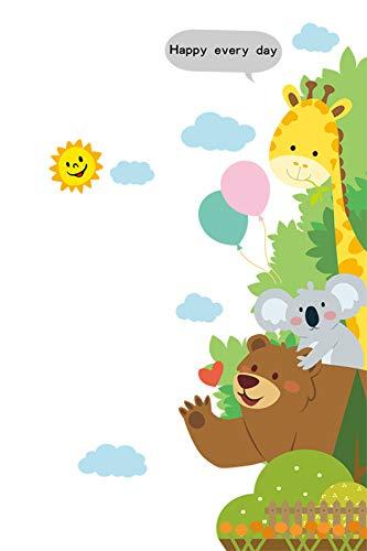 Cartoon animal jirafa oso koala pasta de pared jardín de infantes DIY papel de auto-pegar Adhesivo para puerta de dormitorio infantil se puede quitar 160 x 80cm