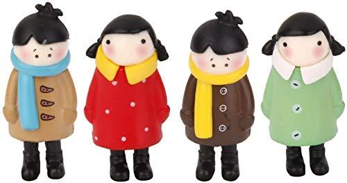 N /A Poppenhuis Miniatuur Mensen Familie Beeldje Figuren Accessoires Kits - 4 X DIY Hars Ambachten Ornament Figuur Mos Terrarium Bonsai Pot Cake Decoratief