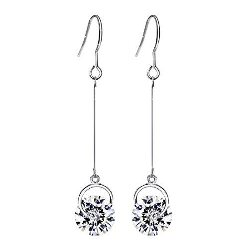 (ネオグロリー)Neoglory Jewelry14金 ホワイトゴールド キュービックジルコニアピアス レディース・ルグランテ ロングピアス レディース ロングチェーン 揺れるピアス「ホワイト」