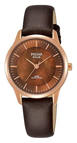 Pulsar dames analoog zonne-horloge met lederen armband PY5044X1