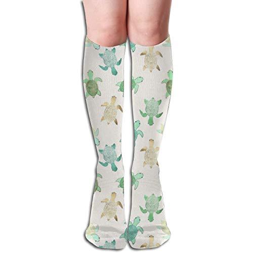 Ccsoixu Swimming Turtle 50 Full Comfort Knee High Socks Cotton Long Knee High Socks