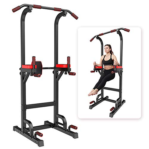 YOKELE Power Tower Dip Station Workout Exercise Equipment for Home Gym Adjustable Multi Pull Up Bar Strength Training&400LBS