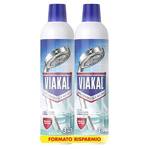 VIAKAL Detersivo Anticalcare Bagno 3 in 1 Liquido, Maxi Formato 2 Pezzi da 700 ml
