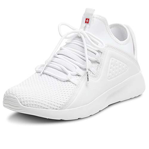 Alpine Swiss Mens Fashion Sneakers Lightweight Knit Tennis Shoes White 9 M US