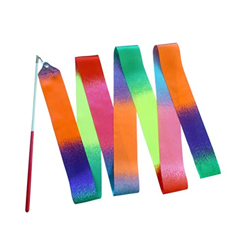 STOBOK Cinta de gimnasia de 2 metros con degradado de colores arcoíris con bastón para niños, niñas (multicolor)