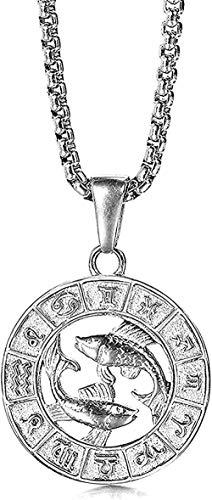 Collar Moda Color Plata Acero Inoxidable 12 Signo del Zodiaco Constelación Aries Colgante Collar para Hombres Mujeres Regalo Moda Piscis Colgante Collar Regalo para Hombres Mujeres Niñas Niños