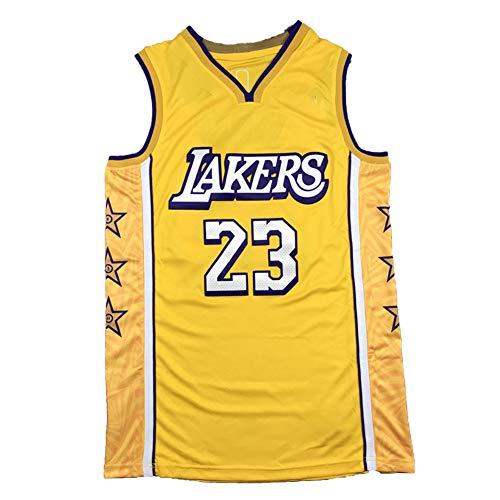 CLKJ Lakers #23 LeBron James - Camisetas de baloncesto para hombre, secado rápido, transpirable, ropa deportiva para jóvenes, tallas grandes, chaleco de entrenamiento de moda amarillo-XXL