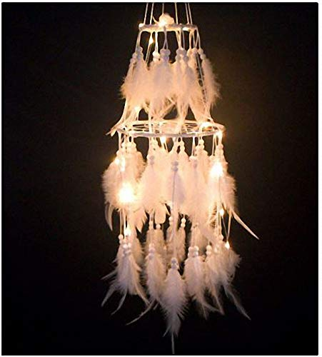 Pure handgemaakte nieuwe creatieve nachtlamp dubbel-catcher droom net wind bel hanger schattig meisje kamer decoratie wind klokken