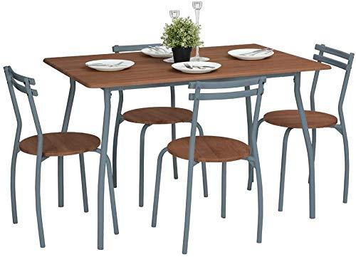 Escritorio y 4 sillas de cocina de metal de restaurante fáciles de ensamblar,Walnut