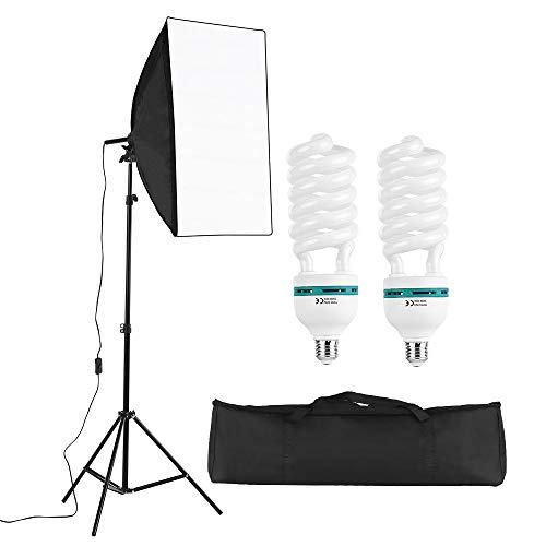 Andoer Kit de Luz Profesional para Fotografía de Estudio Que Incluye Cajas de Luz de 50 * 70 cm * 1 / 150W 5500K Bombillas * 2 / 2M Soporte de Luz * 1 / Bolsa de Transporte * 1
