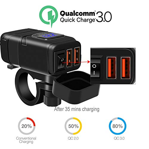 Motorcycle Charger SAE to USB Car Charger Adapter with Voltmeter, Dual USB Super Fast Charger,Auto Splitter Fast Charging for Smart Phone Tablet GPS Compatible with iPhone & Android (Blue Light)