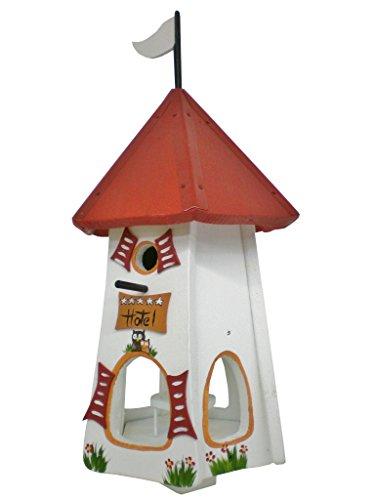 Die Vogelvilla, Turmhotel 5 Sterne Eulen, Vogelhaus & Nistkasten, 2in1, weiß