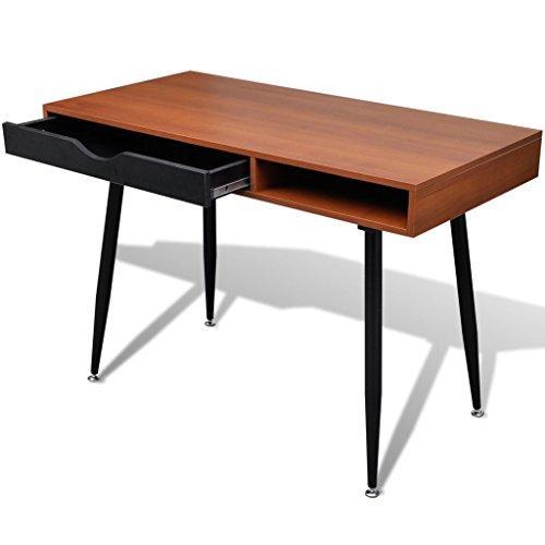Anself Schreibtisch Bürotisch Arbeitstisch mit Schubladen 110cmx55cmx76cm Braun