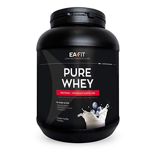 EAFIT Pure Whey - Arándanos 750 g - Crecimiento muscular - Proteínas de Whey - Asimilación Rápida - Aminoácidos y enzimas digestivas - Complejo High Amino - Certificado Antidopaje