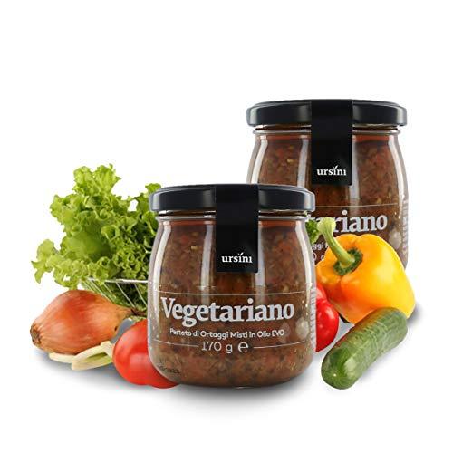 Ursini Paté de Verduras con Queso Grana Padano, piñones y Aceite de Oliva Virgen Extra - 170 gr (Paquete de 2 Piezas)