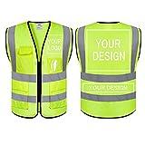 evershare Custom Logo Safety Vest Customize Breathable Mesh Safety Vests Reflective Vest Class 2 Safety Vests ANSI with 5 Pockets Zipper(S), Yellow