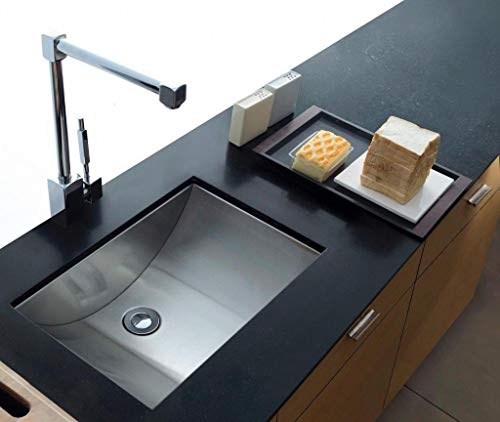Single Bowl Undermount Bathroom Sink | Scratch Rust Corrosion Sound & Dent Resistant Maximum Impact Brushed Finish Stylish Stainless Steel | Best Modern Design | Complete Home Improvement Hardware Kit