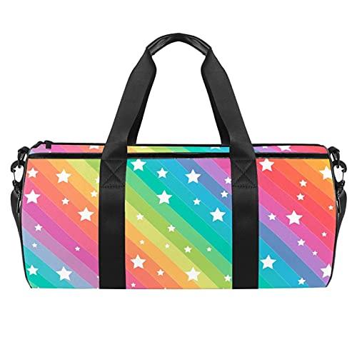 Borsa sportiva da palestra, borsa da danza media leggera e resistente, borsa sportiva The Blue Car 01, borsa da viaggio per uomo e donna, 45 x 23 x 23 cm, Stars Rainbow Background5, 45x23x23cm,