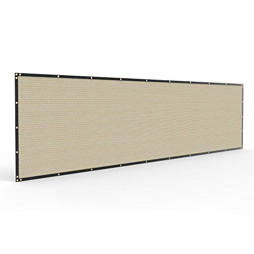 Windscreen4less Heavy Duty Privacy Screen Fence in Color Beige with White Stripes 6' x 50' Brass Grommets 150 GSM - Customized